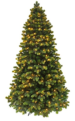 Prelit Christmas Tree/Round Tip Winter Spruce /Pre-lit Christmas tree with LED light and Realistic branch tips (Pre-lit 6')