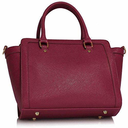 Xardi London monocromatico multi donne borse a tracolla da donna in pelle sintetica design Grab Bags Burgundy Style 1