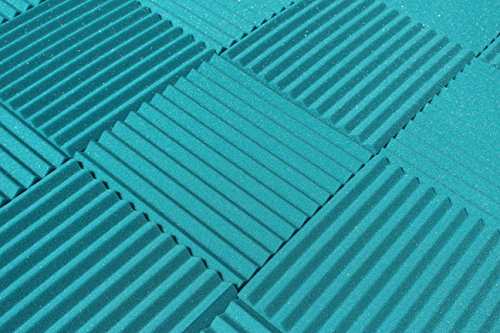 "Soundproofing Acoustic Studio Foam - Teal Color - Wedge Style Panels 12""x12""x1"" Tiles - 6 Pack by SoundAssured (Image #1)"