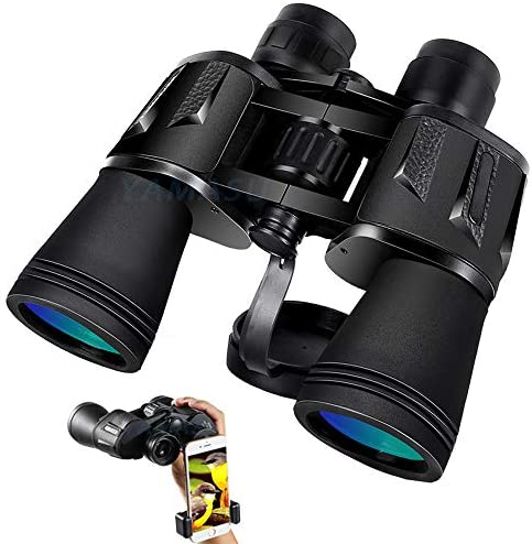YAMASU Binoculars for Adults 20×50 BAK4 Prism FMC Powerful Full-Size HD Binoculars for Bird Watching,Wildlife,Travel,Hunting,Sports Games,Concerts.Weak Night Vision Binoculars with Smartphone Mount