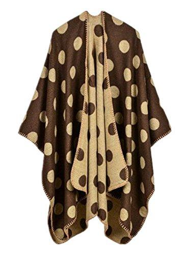 Stampato Coffee Asimmetrica Vintage Cardigan Moda Stola Autunno Invernali Costume Caldo Elegante Poncho Cappotto Irregolare Donna Ragazza Circle Scialle wx41TBvvq