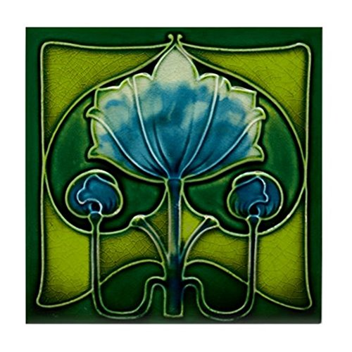 CafePress Art Nouveau Blue Flower Tile Coaster, Drink Coaster, Small Trivet