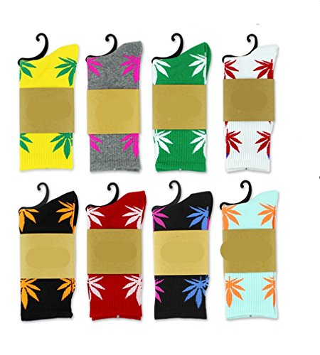 5 Pair Marijuana Weed Leaf Printed Cotton High Socks (Mix Color)