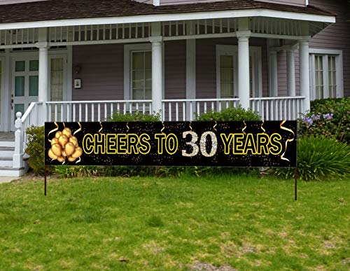 30 Birthday Party Ideas (Large Cheers to 30 Years Banner, Black Gold 30 Anniversary Party Sign, 30th Happy Birthday)