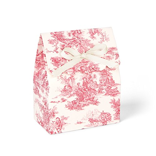 Red and Ivory Toile Favor Boxes with Ivory Grosgrain Ribbon//set of 8