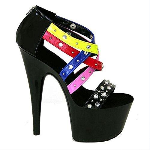 Été en cuir pour femme Mode strass Rivets Colorful Sandals Beaux talons hauts , black , 37