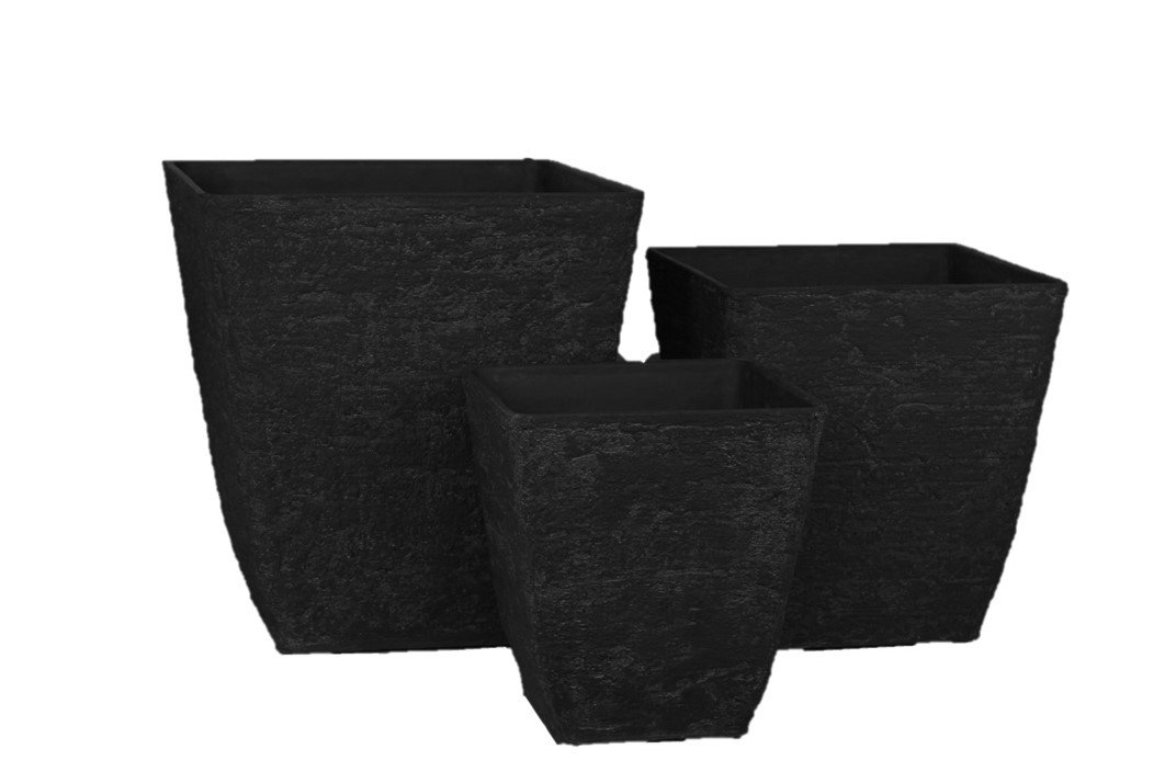 Stone Light 3 Piece Antique AK Series Cast Stone Planter, Black