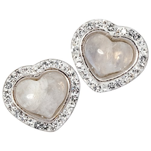 YACQ 925 Sterling Silver Natural Gemstone Valentines Day Heart Shaped Birthstone Stud Earrings (moonstone)