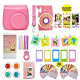 Photo : Fujifilm Instax Mini 9 Camera Accessories Bundle, FLAMINGO PINK Fuji 14 PC Kit Includes: Instax Case + Strap, 2 Albums, Filters, Selfie lens, Magnets + Hanging + Creative Frames, 60 stickers, Gift Box
