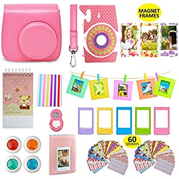 Fujifilm Instax Mini 9 Camera Accessories Bundle, FLAMINGO PINK Fuji 14 PC Kit Includes: Instax Case + Strap, 2 Albums, Filters, Selfie lens, Magnets + Hanging + Creative Frames, 60 stickers, Gift Box