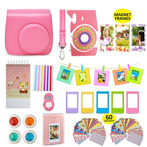 Fujifilm Instax Mini 9 Camera Accessories Bundle, FLAMINGO PINK Fuji 14 PC Kit Includes: Instax Case + Strap, 2 Albums, Filters, Selfie lens, Magnets + Hanging + Creative Frames, 60 stickers, Gift Box Fujifilm Kit