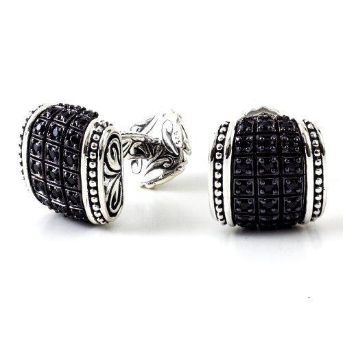 Scott Kay Men's Silver Black Sapphire Engraved (Black Sapphire Cufflinks)