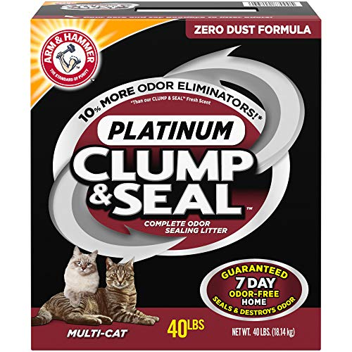 ARM & HAMMER Clump & Seal Platinum Cat Litter, Multi-Cat, 40 lb (Best Cheap Cat Litter)