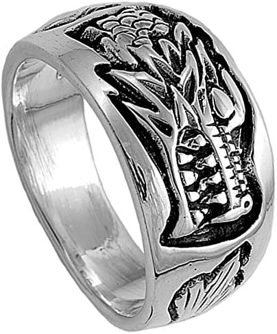 Sterling Silver Women's Men's Dragon Ring Wholesale 925 Band 12mm