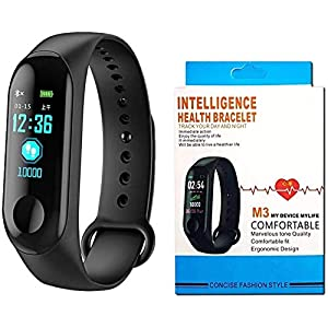 SClout Smart Fitness Band M3 with Heart Rate Monitor;Waterproof;Colorful Display;USB Charging;Call & MSG (Black) 7
