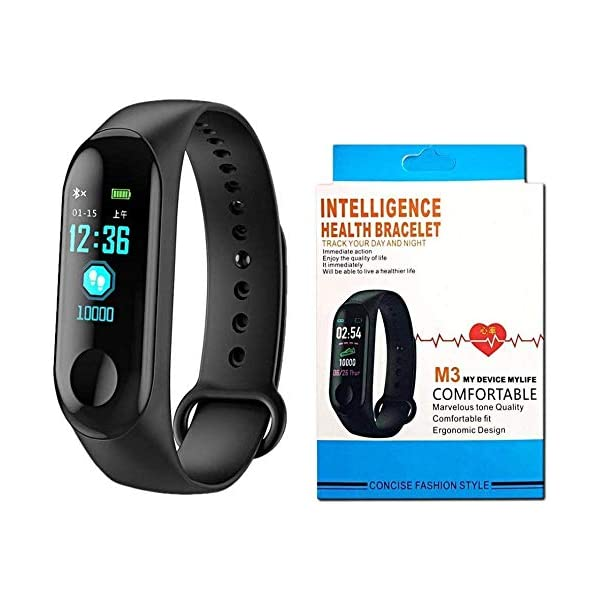 SClout Smart Fitness Band M3 with Heart Rate Monitor;Waterproof;Colorful Display;USB Charging;Call & MSG (Black) 2