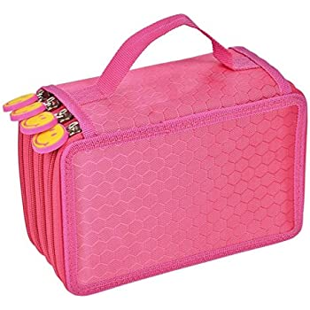 Pencil Case Holder, TopRay 4-Layer Large Capacity Students Pencil Wrap Bag Pen Pounch School Office Art Artist Crafts Stationary Makeup Cosmetic Storage Boxes Organizers (Hot Pink)