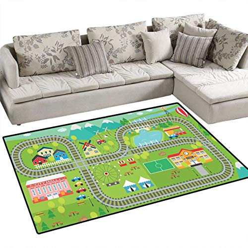 Kids Activity Anti-Static Area Rugs Train Tracks with Colorful Town School City Mall and Amusement Park Fair Children Kids Nursery Rugs Floor Carpet 40
