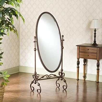 Amazon.com: Floor Mirror Full Length Mirror Oval Antique Burnished ...