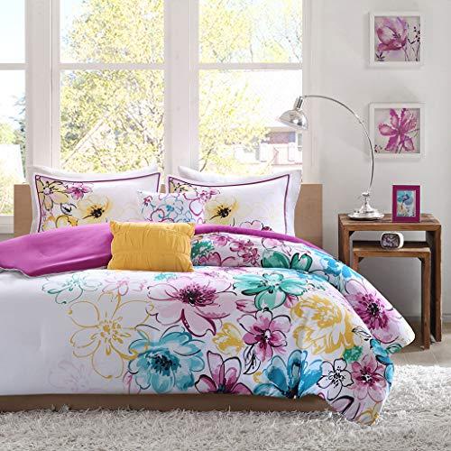 Tuweep Reversible Soft Modern Pink Purple Teal Blue Aqua Yellow Girls Comforter Set COMF-18205755