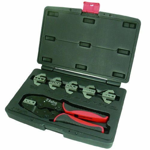 (Astro 9477 Professional Quick Interchangeable Ratchet Crimping Tool Set, 7-Piece)