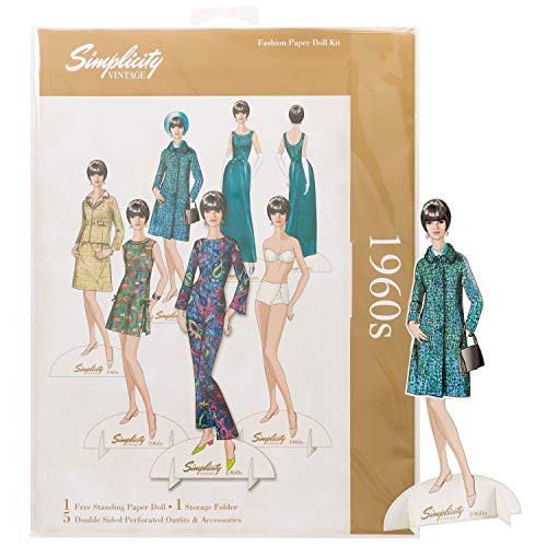 Simplicity Vintage 1960's Fashion Dress Up Paper Doll, 8.3'' H, 8pc - Pattern Paper Doll