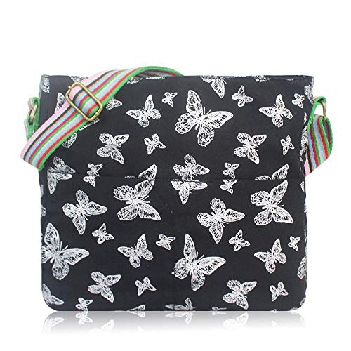 Mariposa Señoras Crossbody flores Messenger Bag y pájaros de Negra lienzo wHpx7wq8