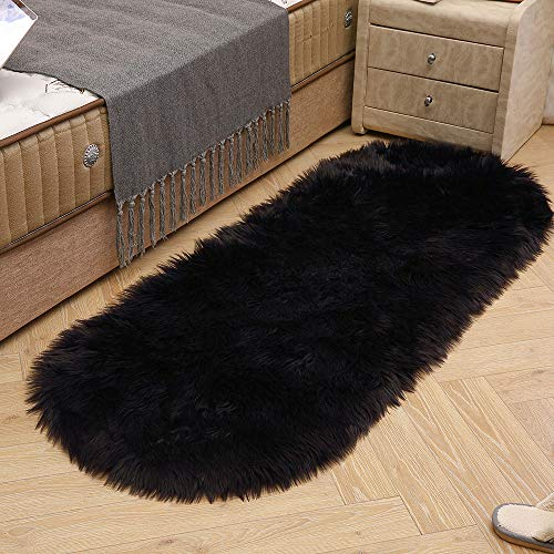 (LEEVAN Soft Shag Round Area Rugs Living Room Faux Fur Wool Oval Bedroom Carpet Plet Rug Fluffy Kids Children Play Mat Home Accent Decorate(Black,2ft x 4ft))