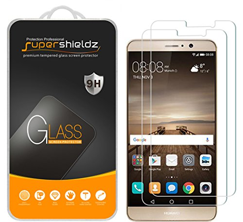 [2-Pack] Huawei Mate 9 Tempered Glass Screen Protector, Supershieldz Anti-Scratch, Anti-Fingerprint, Bubble Free, Lifetime Replacement Warranty
