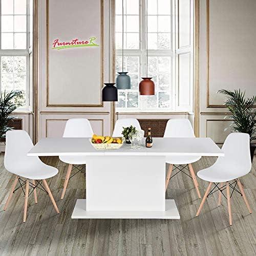 Mesa / comedor de madera extensible de color blanco 160 a 205 cm ...