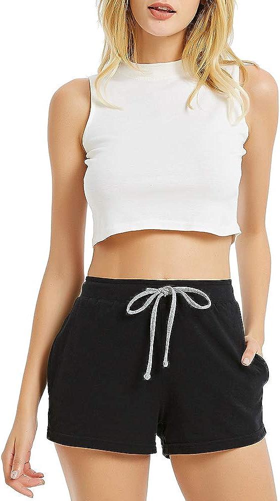 HEARTNICE Womens Cotton Pajama Shorts, Soft Short Pants for Women Lightweight Lounge Sleep Pj Bottoms at  Women's Clothing store