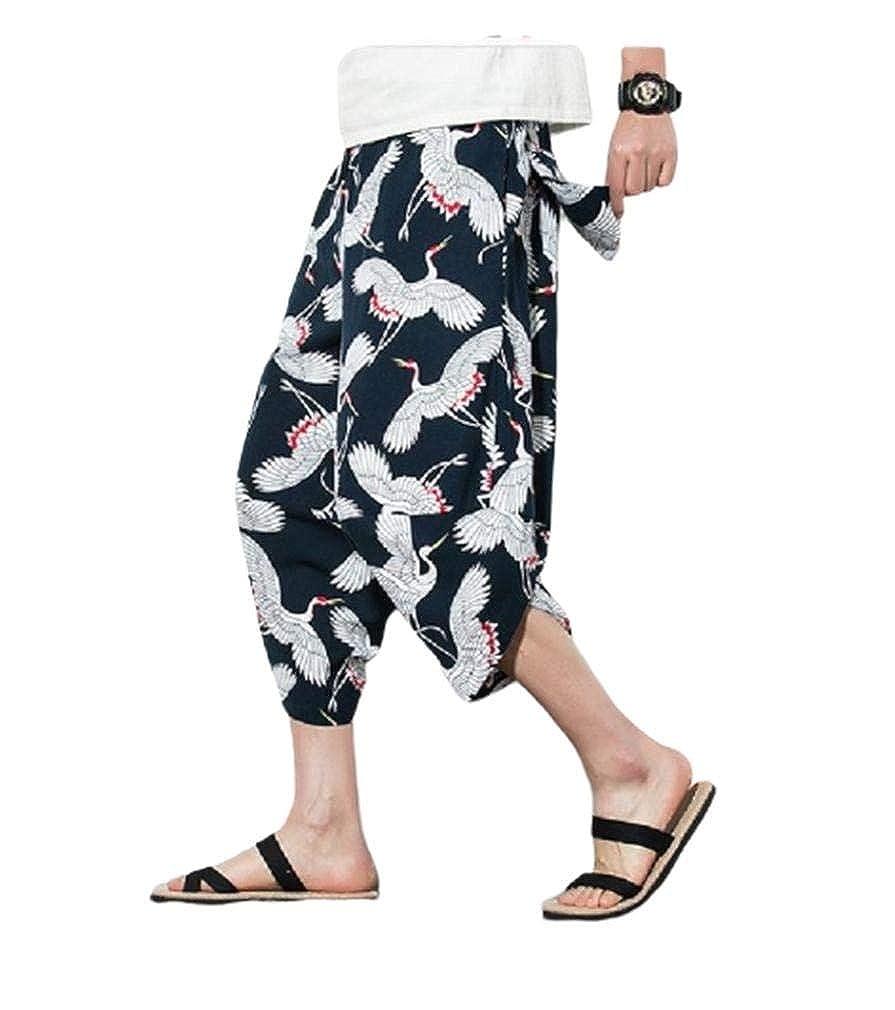 XiaoShop Mens Pocket Summer Plus Size Premium Digital Print Wide Leg Pants