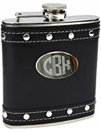 Investment 6oz Silver Stud Black Faux Leather Hip Flask, Free Personalization cheapest