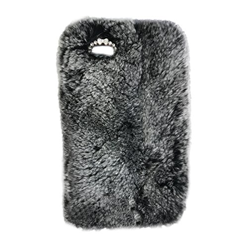 "SODIAL(R) Warm flaumig Villi Pelz Pluesch wolle Bling Case Cover Skin fuer iPhone 6/6S 4.7"" grau"