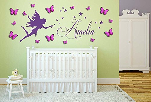 Fairy Personalized Wall Art (Personalized name, Fairy Vinyl Wall Art Sticker, Mural, Decal with personalized princess 3D butterflies. Children's bedroom, nursery, playroom decor)
