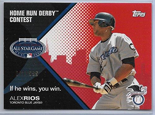 2008 Topps Baseball Alex Rios All-Star Game Home Run Derby Contest Card # 91/999