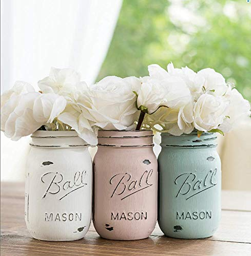 (Blue, Pink, Cream- Set of (3) - Custom Painted Mason Jar - Mason Jars Centerpiece Vases)