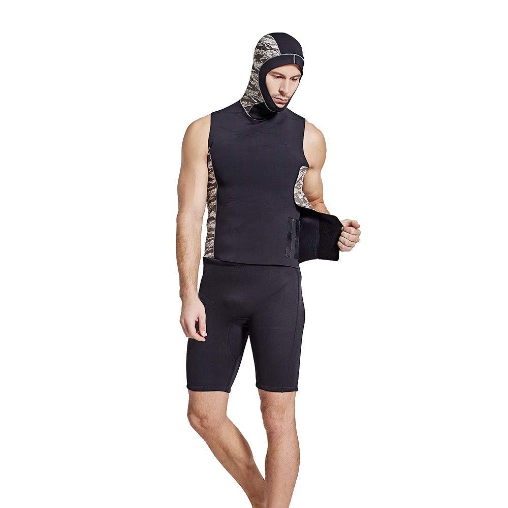 メンズダイビングスーツ、フード付き日焼け止めメンズノースリーブベスト冬の水泳クラゲ服2ミリメートルネオプレン屋外サーフィン服男性 B07PGSKBKD XXL|B B XXL