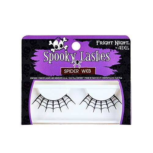 Fright Night False Lashes, Spider Web, for scary spooky dramatic eyes to complete wicked witch or ghost look with lash adhesive -