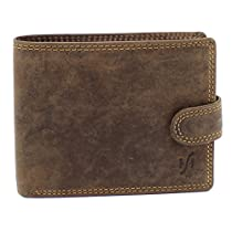 StarHide Mens High Quality Brown Distressed Hunter Leather Notecase Wallet - Coins & ID Card Holder - Gift Boxed - 710 (Brown)