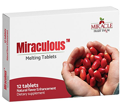(Miraculous Miracle Fruit Tablets, Non-GMO and Farm Grown in USA, Natural Flavor Enhancer, 12 Dissolvable Miracle Berry)