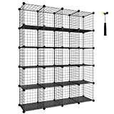 SONGMICS Wire Cube Storage, 20-Cube Modular Rack, Storage Shelves, PP Plastic Shelf Liners Included, 48.4'' L x 12.2'' W x 60.2'' H Black ULPI45H