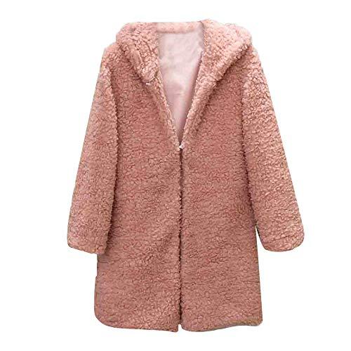 iFOMO Women Winter Solid Long Sleeve Fuzzy Faux Fur Coat Oversized Casual Outwear Cardigan Overcoat(Pink,XL)