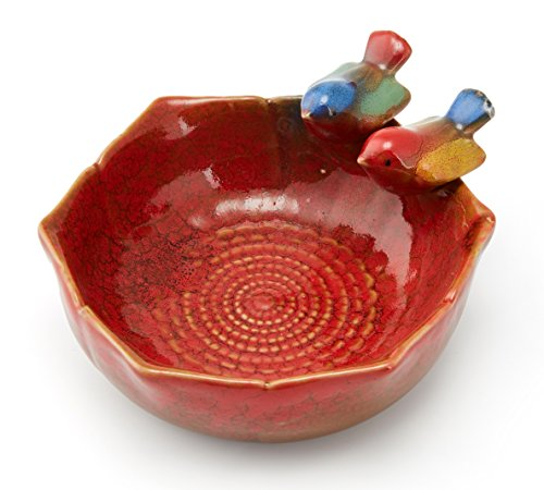 Color Glaze Ceramics Decorative Centerpiece Desktop Storage Organizer Best View on Dining Table Guest Table Tea Table Hold Key, Phone, Remote Control, Trinket, Candy, Cookie etc. (Red)