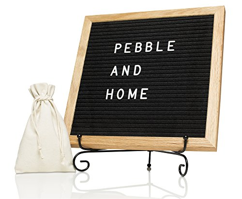 Black Changeable Felt Letter Board - 10x10 Inches with Oak Frame, Metal Stand, Wall Mount, Canvas Bag, 335 White Letters, Numbers & Symbols by Pebble and Home