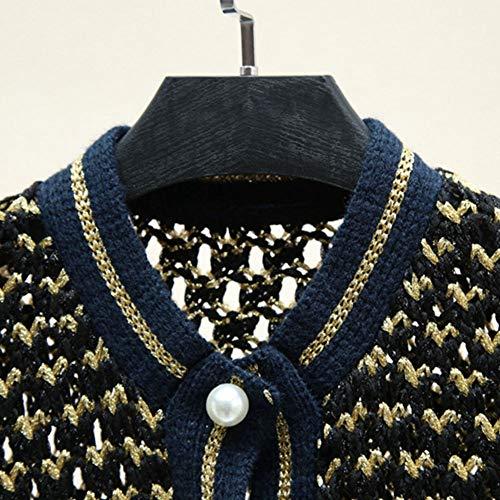 Qinjli E Contrasto Cardigan Bordo Cappotto Maglione Filo Da Autunno Colore A Donna In Righe Primavera Oro Maglia vrIpqvwxF