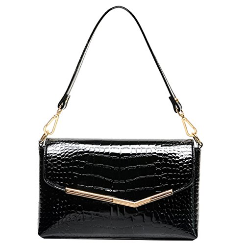 Mily Patent Leather Clutch Handbag Alligator Pattern Shoulder Bag Evening Bag for Women (Black) (Black Leather Evening Bag)