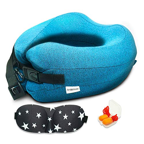 Andpower ZT-08 Airplane 100% Memory Foam 360 Head & Neck Support for Adults Kit with 3D Sleep Mask and Earplugs (Travel Pillow Blue) -