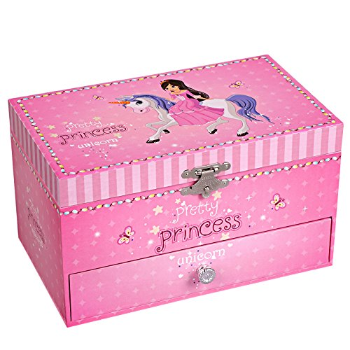 - SONGMICS Ballerina Musical Jewelry Box, Unicorn and Princess Music Box with Drawer UJMC009PK