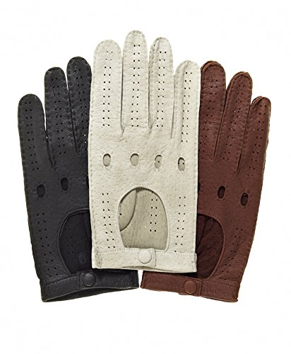 (Fratelli Orsini Men's Handsewn Italian Peccary Driving Gloves Size 8 Color Alabaster )